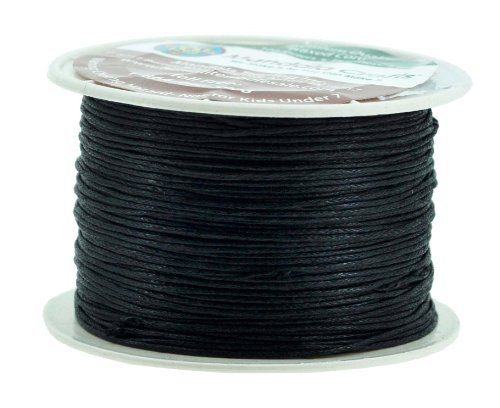 Mandala Crafts 1mm 109 Yards Jewelry Making Beading Crafting Macramé Waxed Cotton Cord Thread (Black) ()