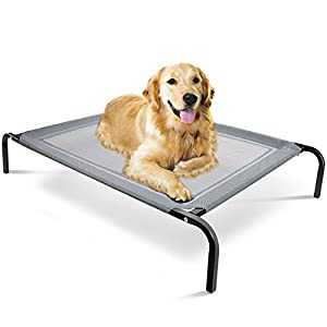 Elevated Dog Bed - Raised Pet Cot in or Out-Door Cots for Dogs Beds - Lifted Hammock Trampoline Suspended Platform Style for Cooling - Medium Indestructible Chew Proof Mesh Cool Off The Ground Floor 84