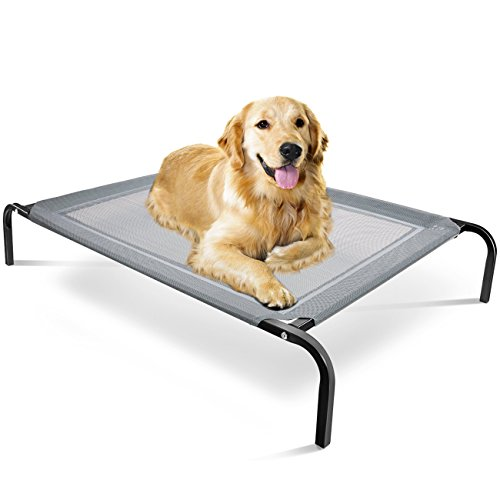 Elevated Dog Bed - Raised Pet Cot in or Out-Door Cots for Dogs Beds - Lifted Hammock Trampoline Suspended Platform Style for Cooling - Medium Indestructible Chew Proof Mesh Cool Off The Ground Floor