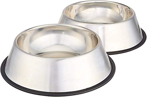 AmazonBasics Stainless Steel Pet Dog Water And Food Bowl - Set of 2, 11 x 3 Inches