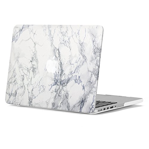 GMYLE White Marble Pattern Soft-Touch Frosted Hard Case Cover for Old MacBook Pro 13 inch with Retina Display (Model: A1425 and A1502) without CD-ROM Drive [2012-2015 Release] by GMYLE