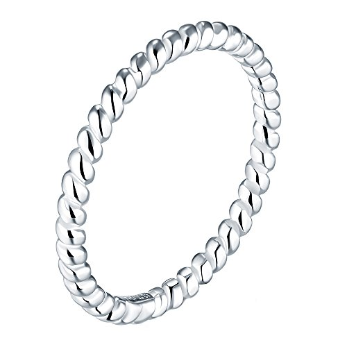 BORUO 925 Sterling Silver Ring, Celtic Knot Infinity Promise Rings 2mm Size 9.5 (Sterling Silver Knot)