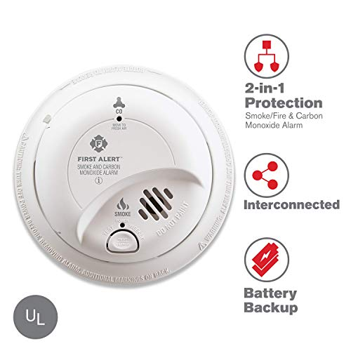 (First Alert BRK SC9120B Hardwired Smoke and Carbon Monoxide (CO) Detector with Battery Backup)