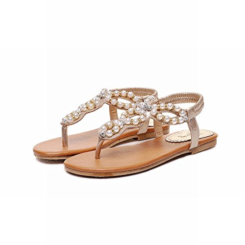 Plates Charme Carol Or Chaussures Femmes Perles Sandales String Mode xv6FxWn