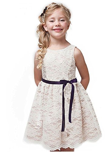 Shop Ginger Wedding Ivory Flower Girl Dress Lace Bow Sash Children Communion D6 (9-10Y, Plum Ribbon) -