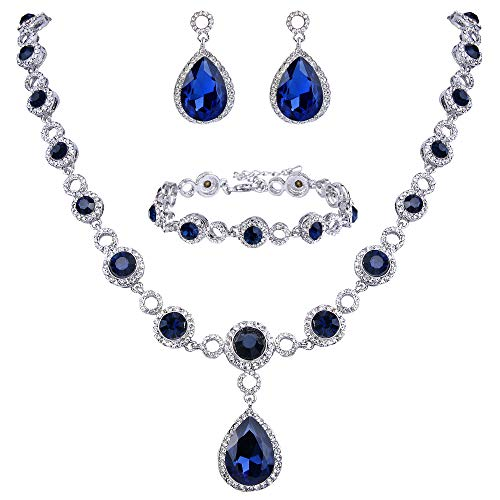 BriLove Wedding Bridal Necklace Bracelet Earrings Jewelry Set for Women Crystal Infinity Figure 8 Teardrop Y-Necklace Dangle Earrings Tennis Bracelet Set Navy Blue Sapphire Color Silver-Tone by BriLove