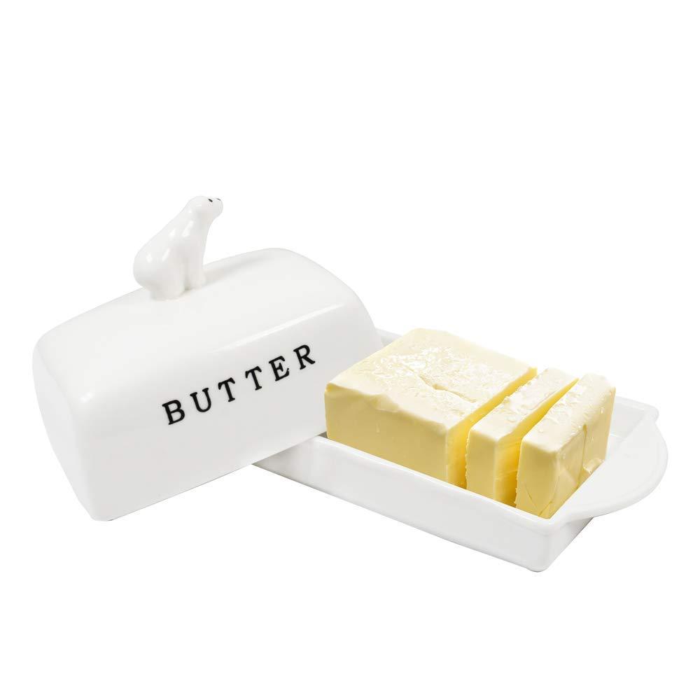 OAMCEG 蓋付きバター皿 磁器バターキーパー 密閉カバー付き バターのスティック2本を保持 カバー付きトレイ付き   B07PSM8GPT
