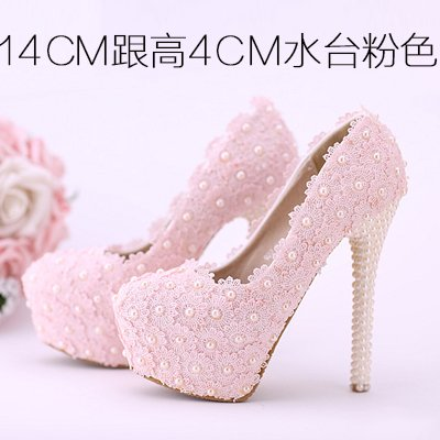 Toe 14Cm Color Pink Pearl Red Prom Sandals Wedding Round Heel Shoes Shoes Women'S Flowers Waterproof High VIVIOO 5 White Bridal Heeled Lace Shoes Pink RTwBnqP6