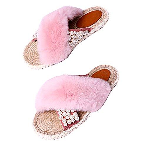 Zjm Pink Plana Femenino Zapatilla Manera Sandalias Deslizador De Trenzado Del El Paja color Tamaño 35 Pink La Artículo Verano Ata Planas Grano 1zw1W6n8rd