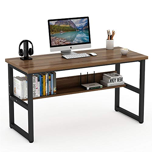 (Tribesigns 55 Inches Computer Desk with Bookshelf Works as Office Desk Study Table Workstation for Home Office (55'', Dark Walnut))