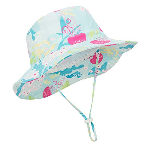 Durio Sun Hat Summer Toddler Girls Hats Beach Safari Hat Beach Fishing Hats for Baby Kids Infant A Light Blue 19.7(50cm)/12-24 Months