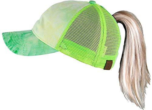 - H-216-TD87 Ponytail Trucker Hat: Lime Tie Dye