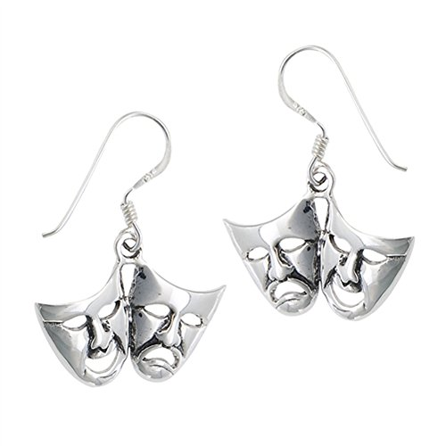 Theatre Mask Comedy Tragedy Acting .925 Sterling Silver Thespian Dangle Earrings]()
