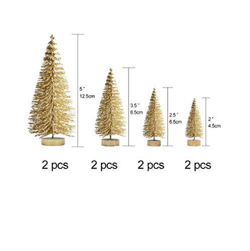 Monkey* 8PCS Artificial Mini Christmas Trees, Sisal Trees with Wood Base Bottle Brush Trees for Christmas Table Top Decor Winter Crafts Ornaments (Gold) from Monkey*