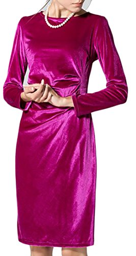 Cruiize Womens Longues Velours Manches Fermeture Éclair Dos Solide Robe Clubwear Mince Rose Rouge