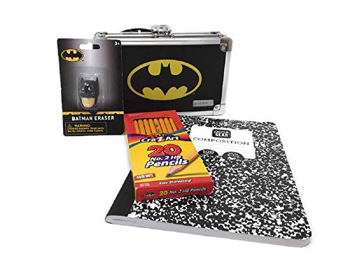 Vaultz Batman Locking Supply Box bundled with Pen+Gear Composition Notebook, 20 pack of Cra-Z-Art Pencils, and Batman Eraser (4 Items in bundle) (Book Composition Locking)