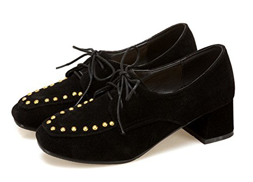 Aisun Womens Studded Low Cut Trendy Square Toe Lace Up Oxfords Mid Chunky Heel Pumps Shoes Black VBo3dJsE