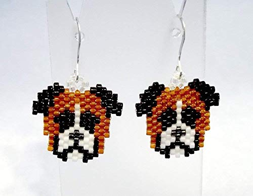 Brown Black and White Boxer Dog Sculptured Picture Seed Bead Dangle Earrings ()