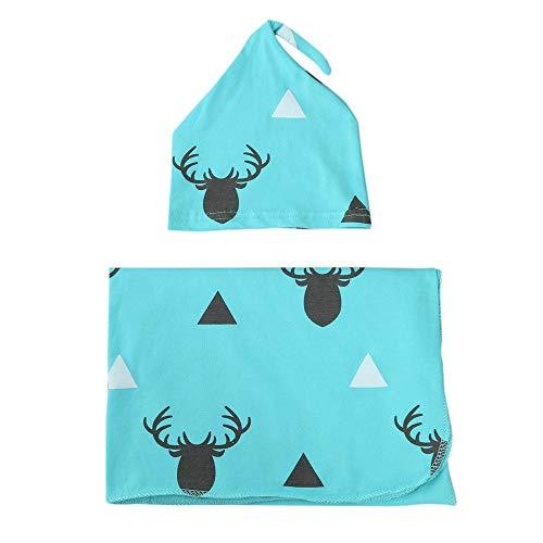 (Hunagou Newborn Receiving Blanket Headband Set Deer Baby Swaddle Receiving Blankets Sleeping Muslin Wrap Headband Set (0-12 Months, Blue))