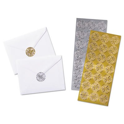 Quality Park Decorative Foil Envelope Seals, Pack of 21 Gold and Silver Seals (46910) ()