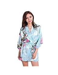 Honeystore Women's Japanese Kimono Silk Short Robe Peacock Nightgown Sleepwear