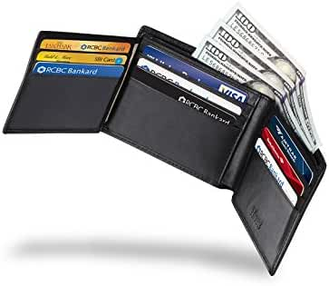 Mens RFID Blocking Trifold Wallet Genuine Leather Security Credit Card Holder