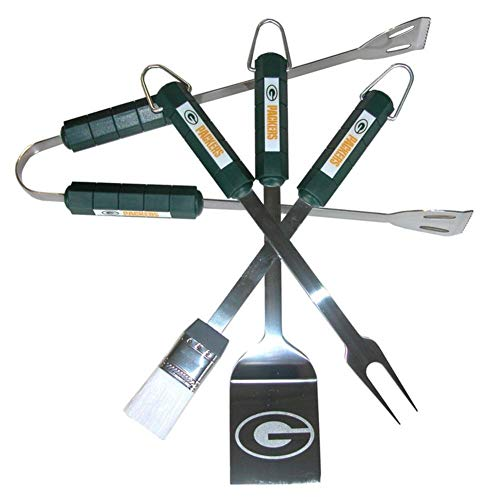 Siskiyou NFL Green Bay Packers Four Piece Stainless Steel BBQ Set BBQ Grill Set 6 x 15in