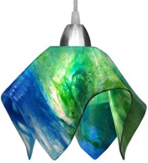 product image for Jezebel Signature Flame Track Lighting Pendant Small. Hardware: Nickel. Glass: Fern