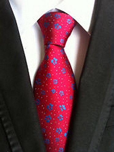 [Jacob AleX #47193 Costume Floral Red Blue Flowers JACQUARD WOVEN Necktie] (Little Red Ant Costume)