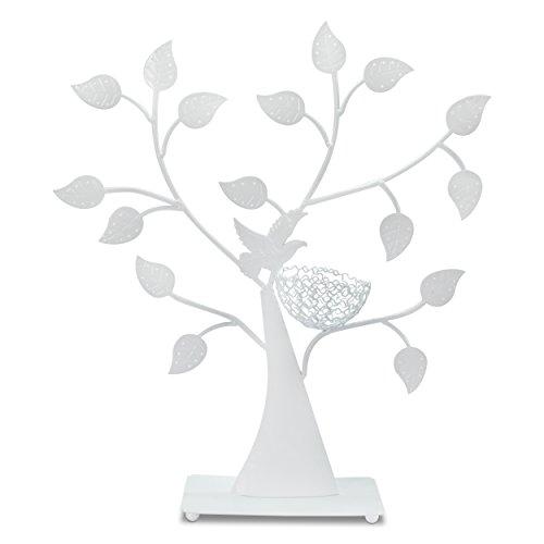 VENKON - Design Schmuckbaum Ohrringhalter Schmuck Organizer Schmuckständer Ringhalter - weiß - 43 x 38cm -