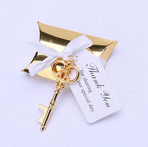 Meressie 50pcs Wedding Favors Key Bottle Openers with Gold Candy Boxes Thank You Tags Party Supplies Rustic Decoration, Gold Color Key (Key Style #3)