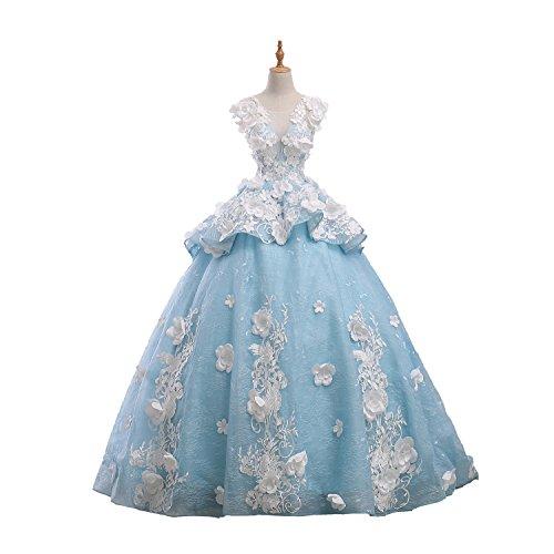 JoJoBridal Women's Handmade Flower A Line Long Prom Dresses Ball Gown Size 10 Sky Blue (Embellished Butterfly Dress)