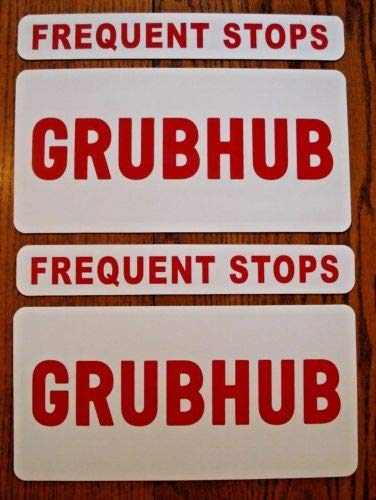Flexible Magnets 2 GRUBHUB Magnetic CAR Vehicle Signs 6x12 & 2 Frequent Stops 1 3/4х12