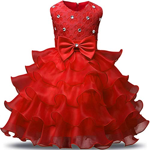Flower Girl Unicorn Party Dress Ruffles Tulle Birthday Party Wedding Princess Costume Dress Red