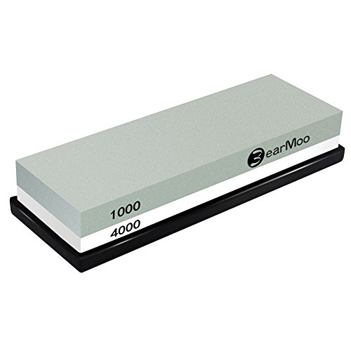 Whetstone, BearMoo Sharpening Stone 1000/4000 Grit Combination Waterstone...