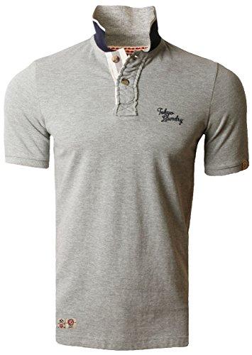 Tokyo Laundry Herren Polo Shirt Kurzarm Baumwolle 1X-5470 - Hellgrau, S