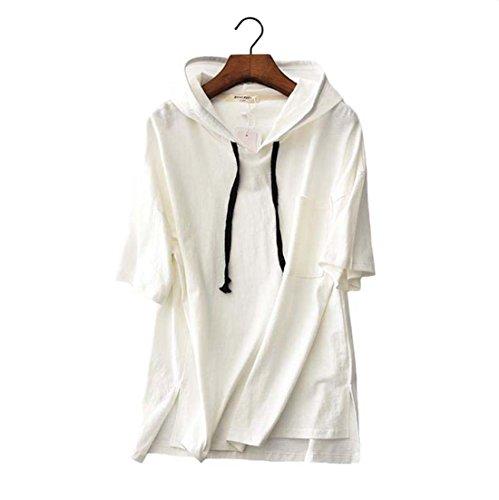GFMADE パーカー レディース Tシャツ フード 半袖 スポーツ 綿麻 トップス ゆったり シンプル 無地 おおきいサイズ 薄手 春夏