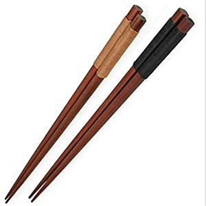 Ecloud Shop® Set of 2 Japanese Style Traditional Tableware Solid Chestnut Color Chopsticks with Black Brown Binding Thread