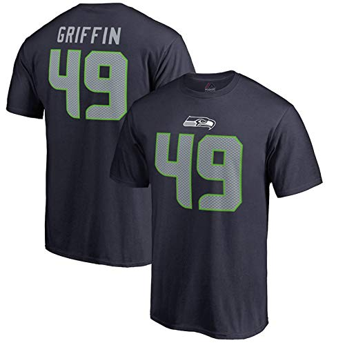 Majestic Athletic Mens Shaquem Griffin Seattle Seahawks NFL Pro Line Name & Number T-Shirt – Navy (XL)