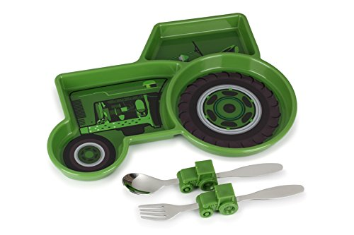 - KidsFunwares Me Time Meal Set (Tractor) – 3-Piece Set for Kids and Toddlers – Plate, Fork & Spoon that Children Love - Spark your Child's Imagination & Teaches Portion Control - Dishwasher Safe