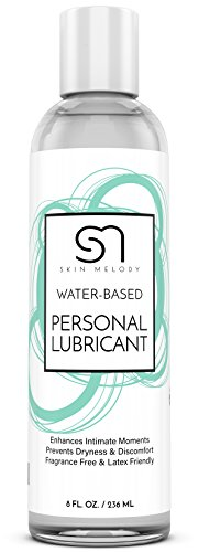 Personal Lubricant for Men & Women + Couples - Water Based Lube for Intimate Sensual Moments - Lubes Skin & Body for Silky Stimulation - Compatible with Silicone Toys & Great for Sensitive Skin - 8 OZ by Skin Melody