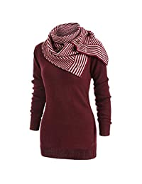 Biubuy Women's Spring Newest Casual Style Sweater Scarf Skew Neck Matching Long-Sleeved Pullover Coat Knitted Striped Top