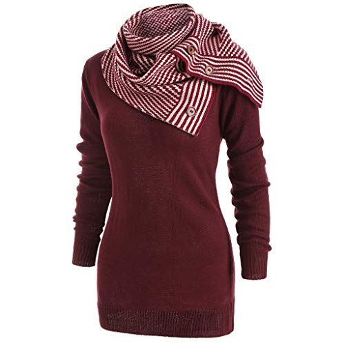 HULKAY Women Knit Tops Striped Buttons Scarf Skew Neck Long Sleeve Knitted Sweater Pullover Coat(Wine,S) ()