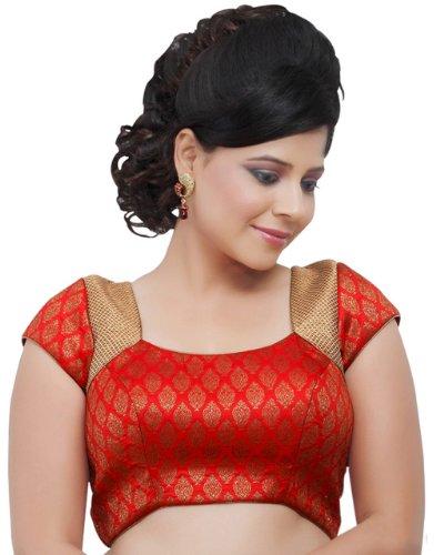 Red Brocade Ready-made Partywear Indian Wedding Saree Blouse Choli - R-5