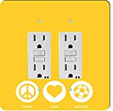 Rikki Knight 42777 Gfidouble Peace Love Soccer Yellow Color Design Light Switch Plate