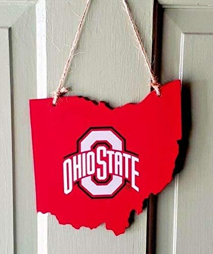 Ohio State Buckeyes Wood State MAP Logo Resin Ornament 4