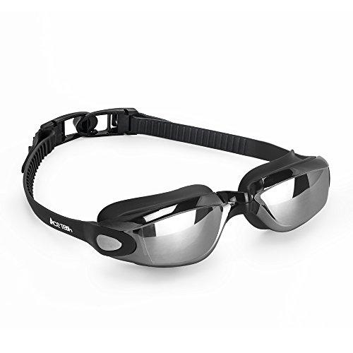 Swim Goggles, Ace Teah Swimming Goggles No Leaking Anti Fog UV Protection Swim Glasses for Adults, Men, Women – Black