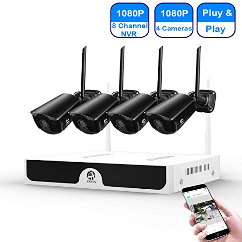 [2020 update] Security Camera System Wireless JOOAN 8-Channel HD 1080P NVR with 4Pcs 1080P Wireless Camera, home outdoor/indoor WiFi Surveillance System Good Night Vision With Motion Dectection & Email/APP Alarm, P2P