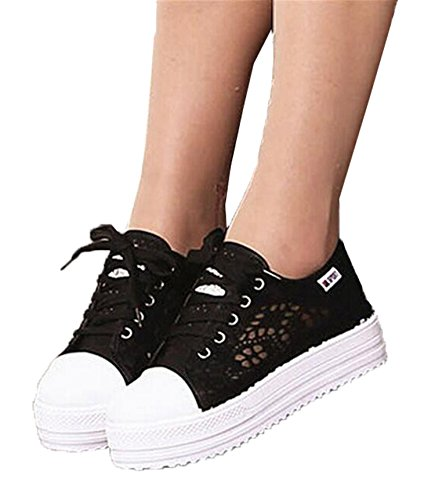 Summer Flat Casual Shoes Black Canvas Shoes Platform Women Lace Cutouts Hollow Shoes Breathable Floral qPIUw4P
