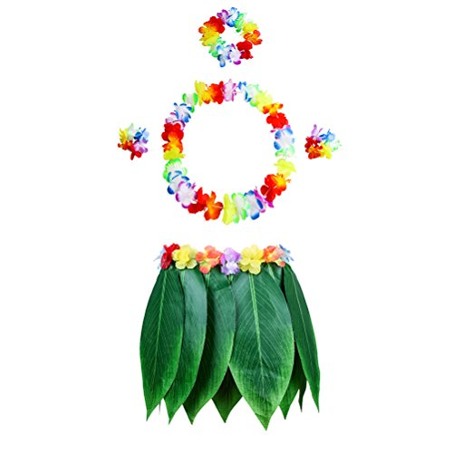 LUOEM Hawaiian Grass Dance Skirt with Garland Beach Luau Party Costume Decoration Adults 5PCS (Wreath4 and Leaf Grass Skirt1) by LUOEM